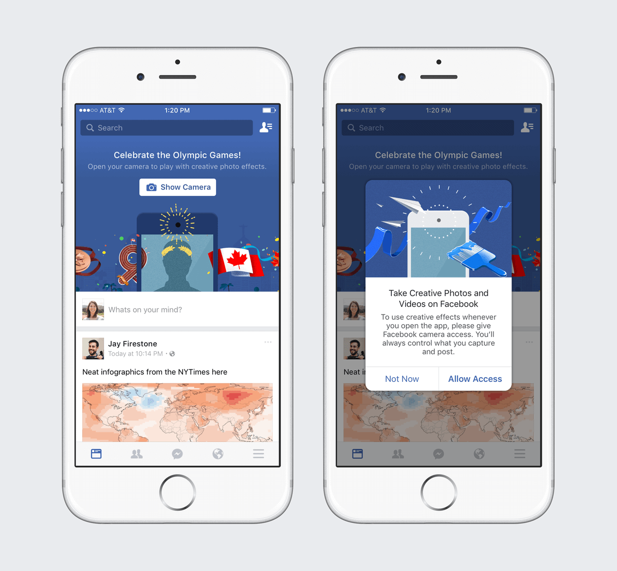 Facebook Promotes Olympics in Brazil and Canada with Its CameraFeed and MSQRD Selfie Filter Integration