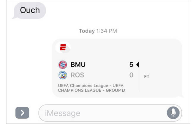 Share Scores with ESPN iMessage App