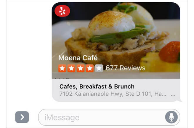 Yelp iMessage App Example
