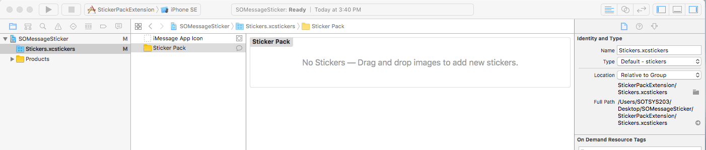 Sticker Pack iMessage App Integration