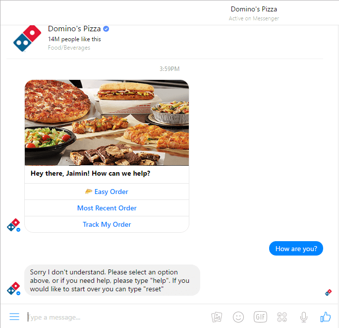 Dominos ChatBot Review