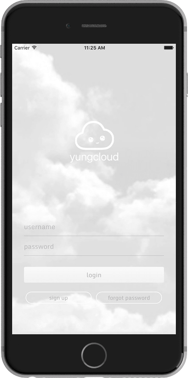 Login screen for Yungcloud app