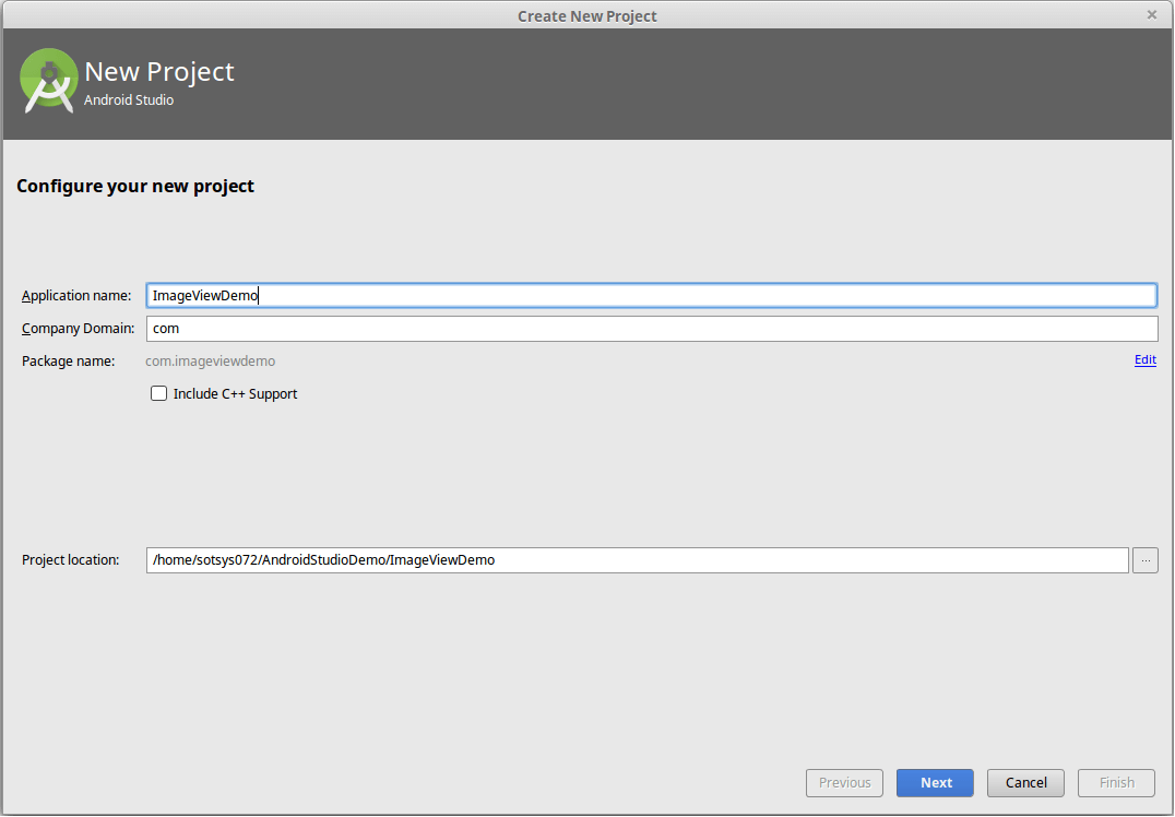 Create a new project in Android Studio
