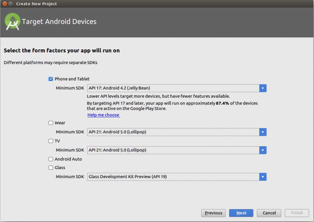target Android devices in android studio