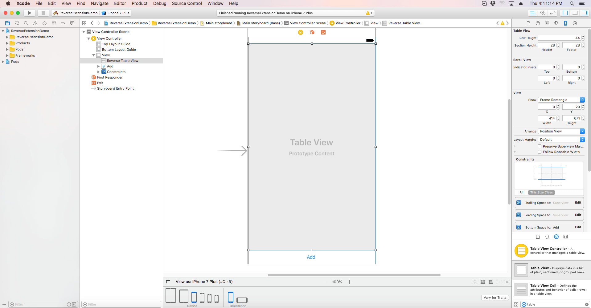 How to Create iOS TableView Using Reverse Extension Swift