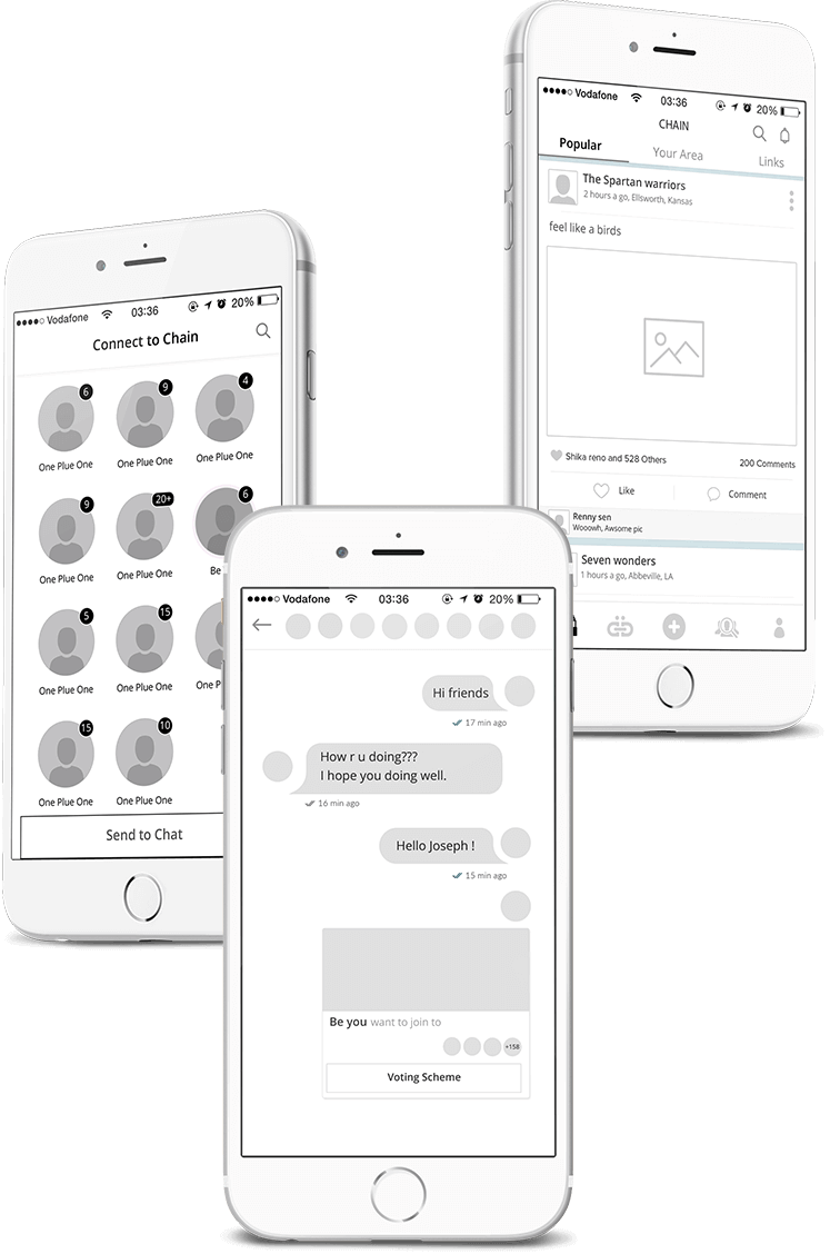 Chain LLC app wireframing