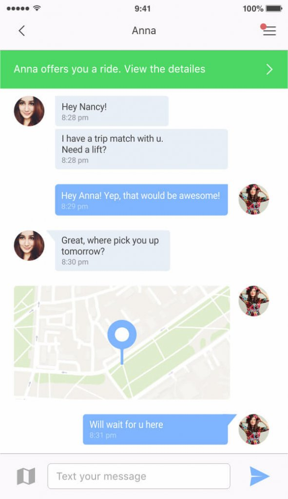 in-app-chat-carpooling-app