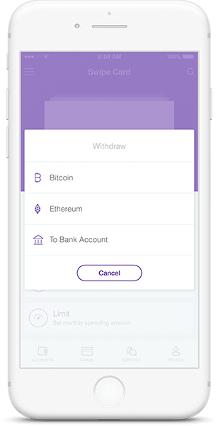 Withdraw feature in Cryptocurrency wallet app