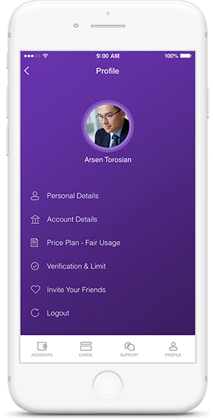 personal profile on cryptocurrency wallet app