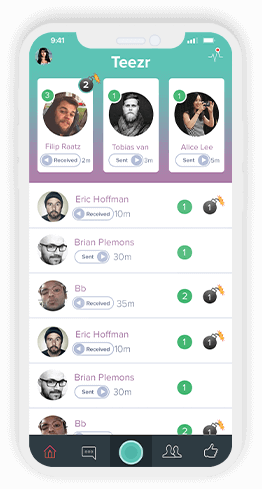 Teezr App Screen