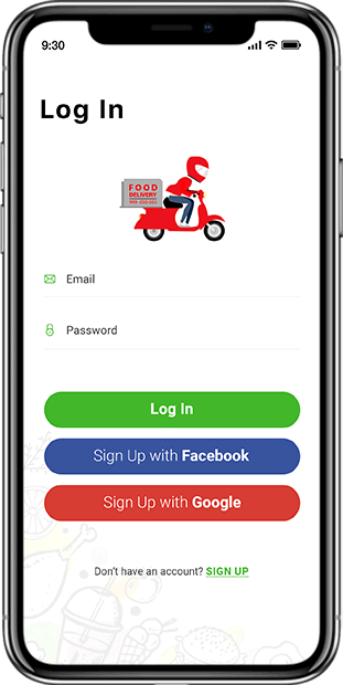 Driver Delivery App Login screen
