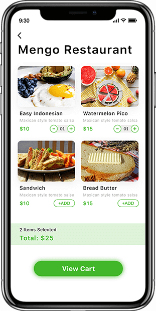 Food ordering customer app