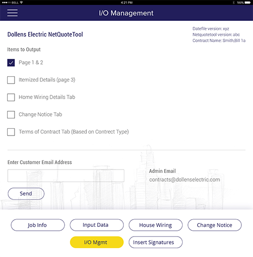 I/O management form in NetQuote tool