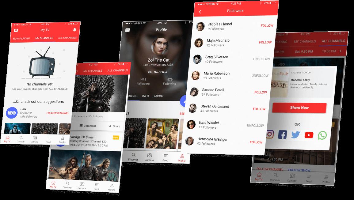 Tictalk app screens