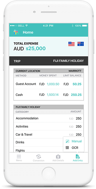 Multi-Currency View feature in Travel Clutter app