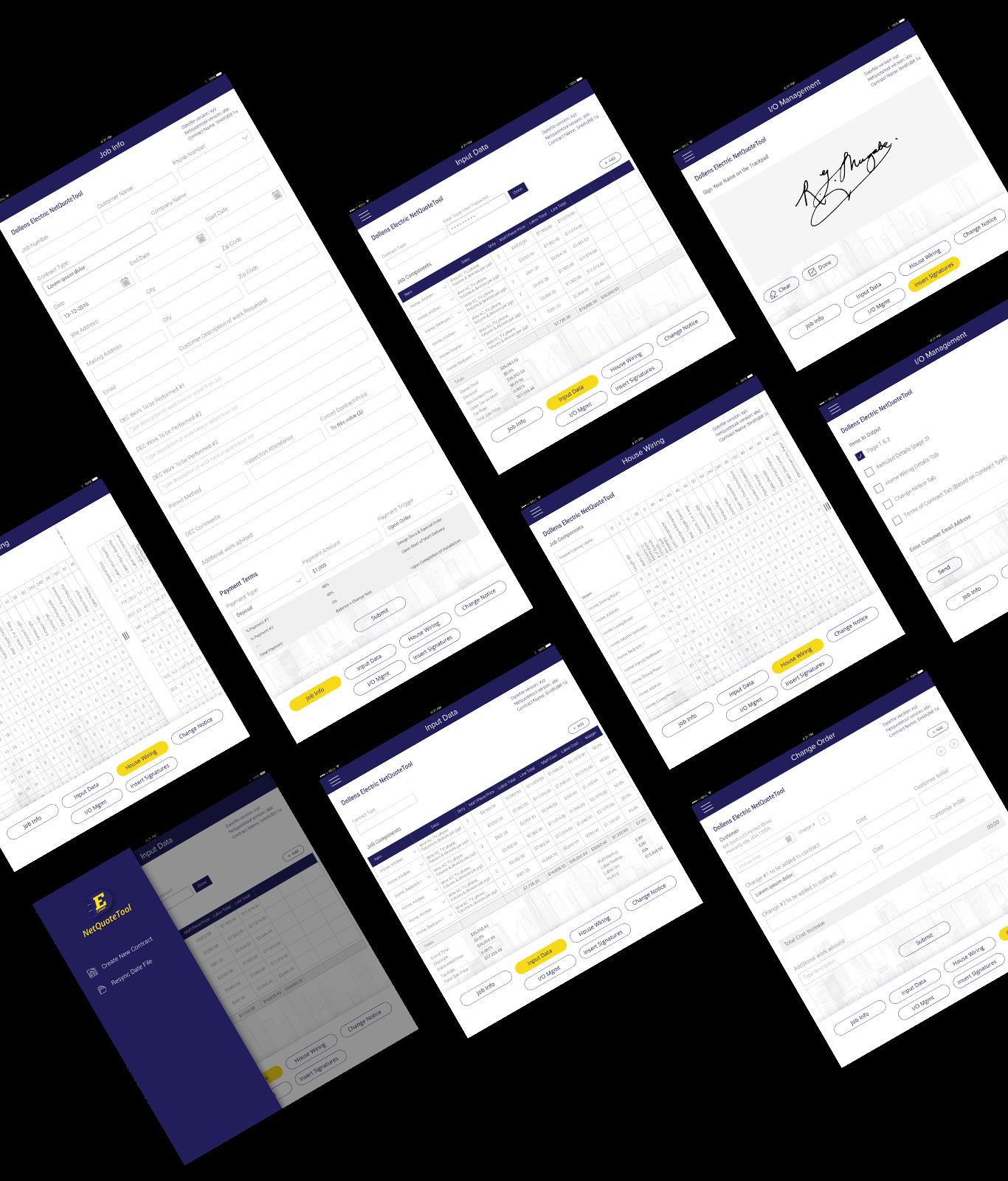 Netquote app screens