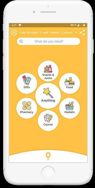 Glovo app main screen
