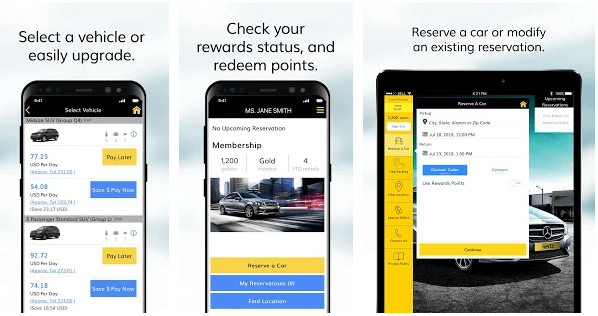 Hertz-airport-rental-app-development