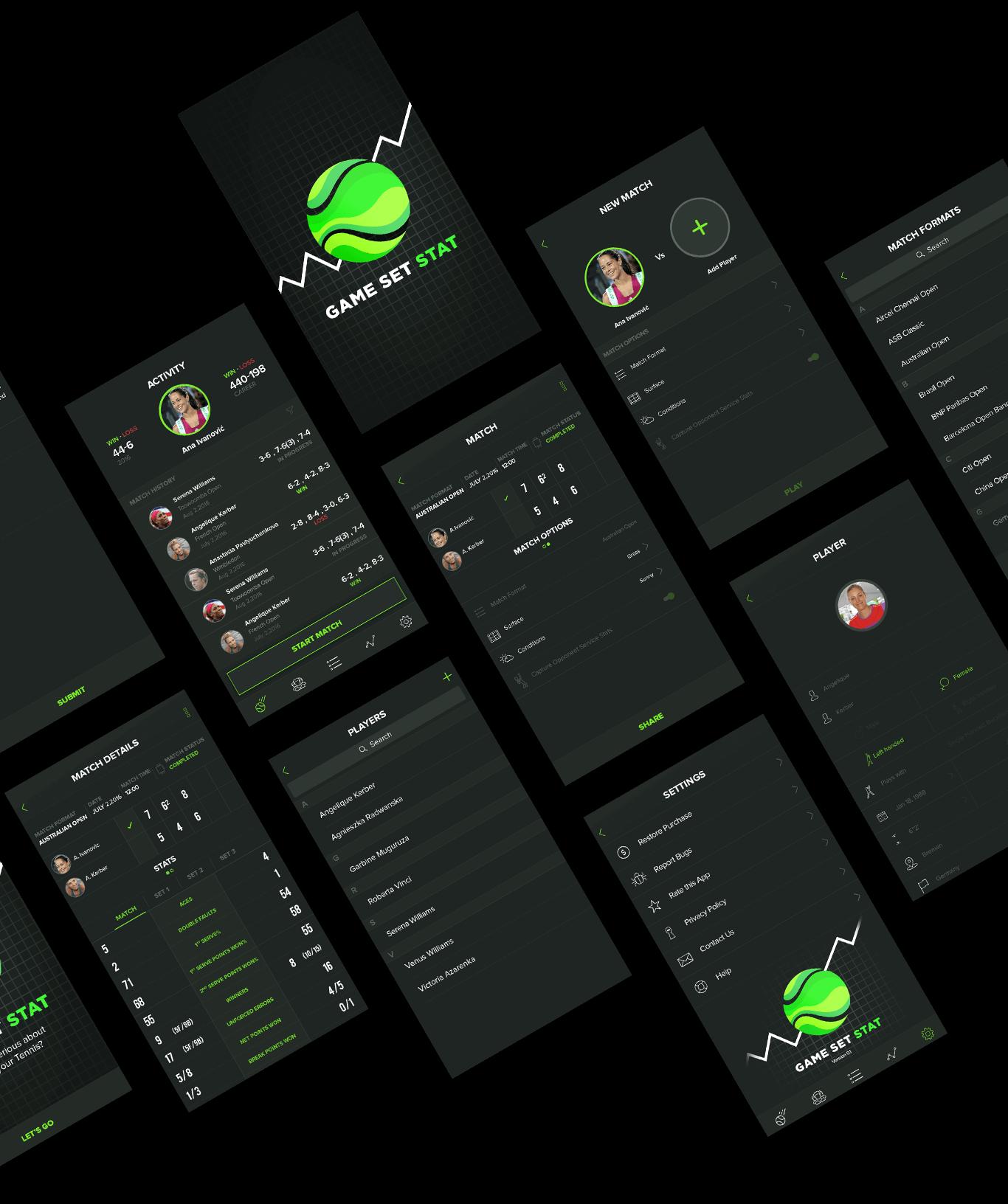 Game Set Stat app final interface