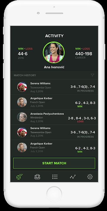 Game Set Stat app main screen