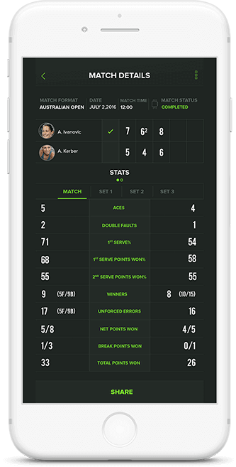 Share live updates feature in Game Set Stat app
