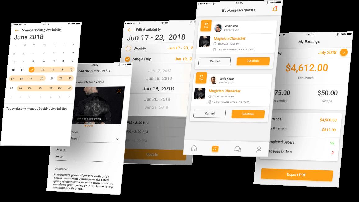Singing Telegram Now App Screens