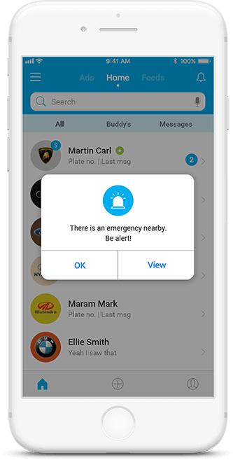 Emergency alert feature in Carco app