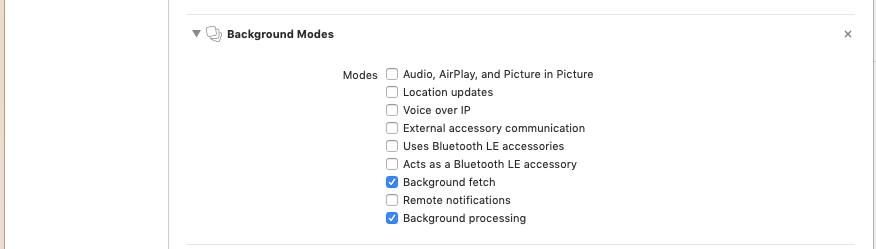 specify background modes
