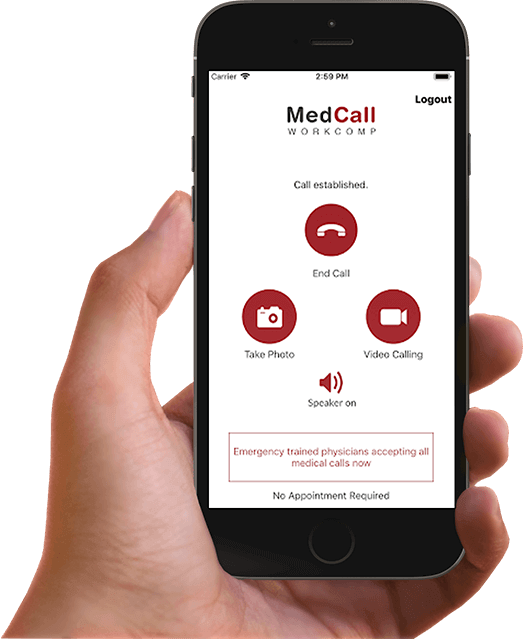 MedcallWorkComp app screen