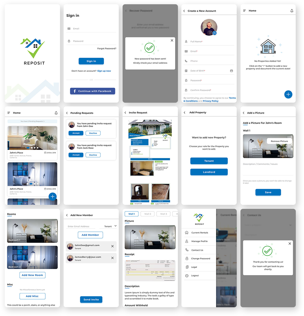 Reposit App Screens