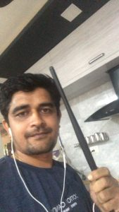 Selfie with a kitchen utensil