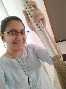 Selfie with broom