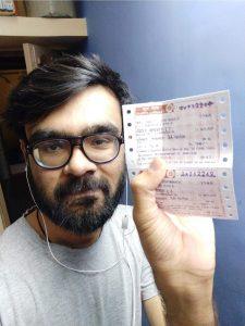 Selfie with railway ticket