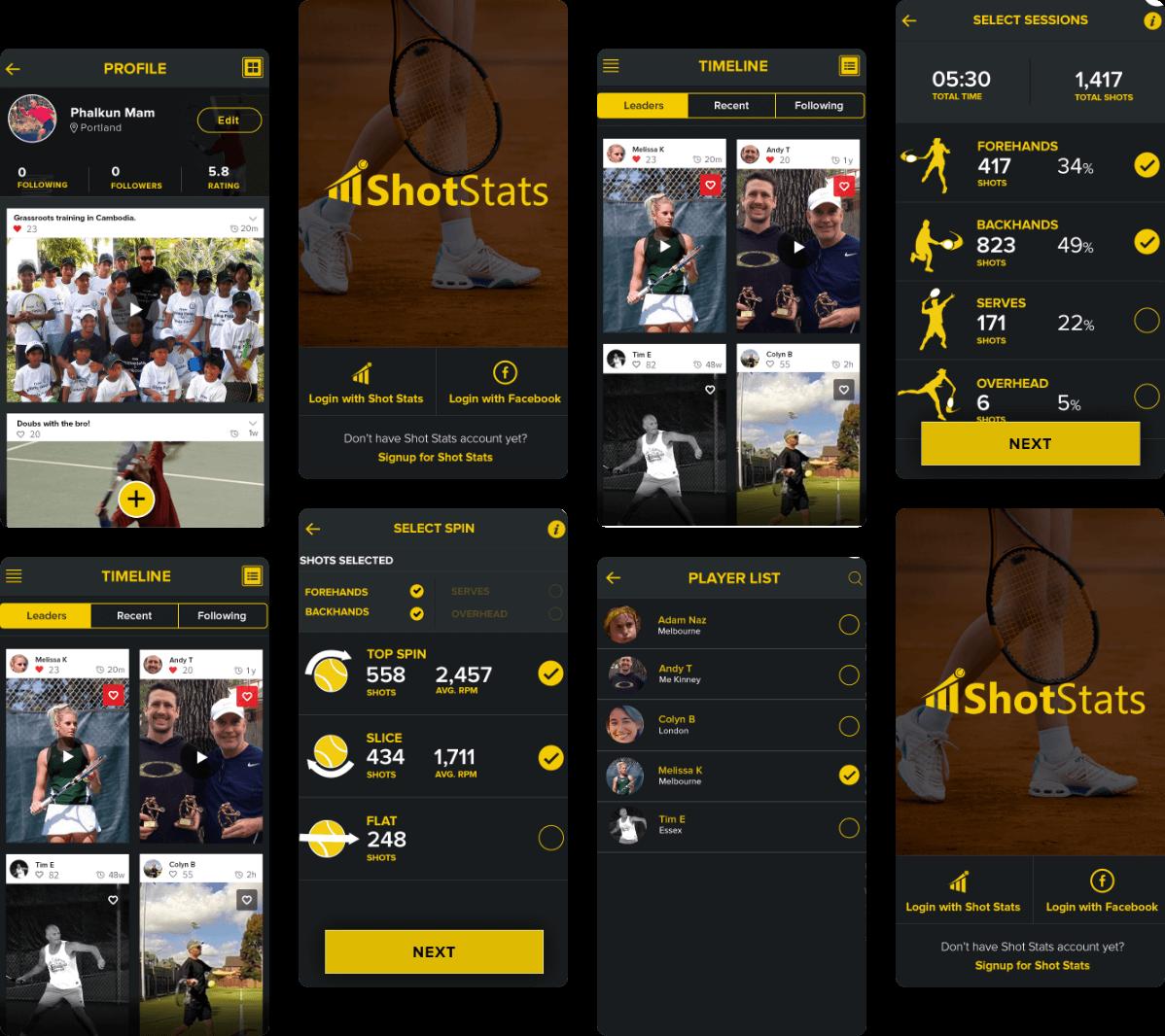 ShotStats App Screens