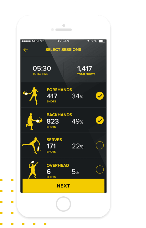 ShotStats Fitness select session